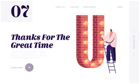 Thank You Word Spelling, Alphabet Character Website Landing Page. Man Stand on Ladder at Huge Letter U Made of Red Bricks Decorated with Light Garland Web Page Banner. Cartoon Flat Vector Illustration