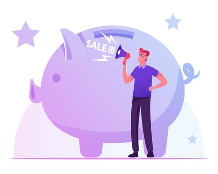 Man Crying to Loudspeaker near Huge Piggy Bank Calling Customers for Total Sale in Store. Shopping Promotion, Announcement, Advertising and Loyalty Program Concept. Cartoon Flat Vector Illustration