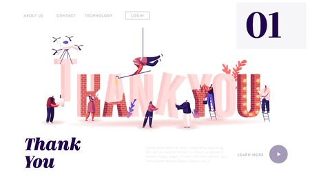 Thanking Website Landing Page. Male and Female Characters Set Up, Painting and Decorate Huge Word Thank You Made of Red Bricks. Gratitude Typography Web Page Banner. Cartoon Flat Vector Illustration Illustration