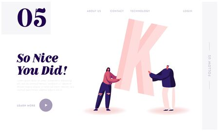 Gratitude for Good Job or Service Website Landing Page. Woman and Man in Casual Clothing Hold Huge Letter K in Hand. Thank You Typography and Spelling Web Page Banner. Cartoon Flat Vector Illustration