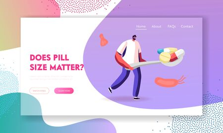 Illness Prevention, Disease Treatment Pandemic Spreading Website Landing Page. Man Carry Huge Spoon Full of Medicine Pills with Various Microbes around Web Page Banner Cartoon Flat Vector Illustration