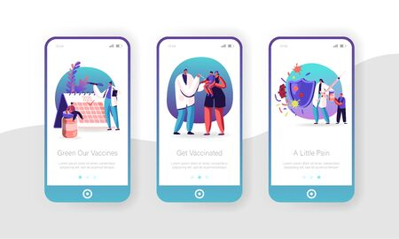 Human Vaccination Mobile App Page Onboard Screen Set. Vaccine for Protection from Disease. Doctor Put Injection to Kid, Immunization Concept for Website or Web Page, Cartoon Flat Vector Illustration