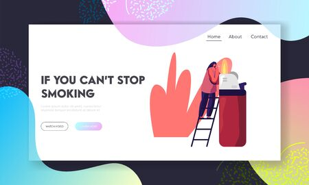 Smoking Addiction Causing Harm to Health Problem, Cancer Website Landing Page. Tiny Woman Stand on Ladder Light Cigarette from Huge Burning Lighter Web Page Banner. Cartoon Flat Vector Illustration  イラスト・ベクター素材