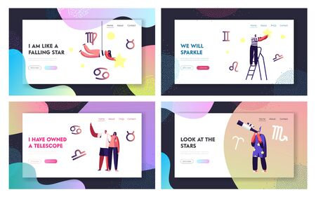 Cosmos Exploration, Scientific Investigation Website Landing Page Set. People Admire Looking on Stars and Constellations at Night Sky, Study Astrology Web Page Banner. Cartoon Flat Vector Illustration