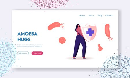 Epidemiology Website Landing Page. Woman Hold Shield with Cross Sign. Sanitary Condition Prevention and Virus Protection Microscopic Bacteria Infection Web Page Banner Cartoon Flat Vector Illustration
