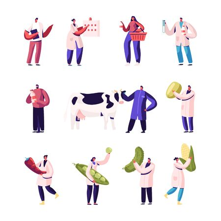 Milk and Vegetable Production Manufacture Set Isolated on White Background. Male and Female Characters Wearing White Robe Plant Staff Produce Food. Man with Cow. Cartoon Flat Vector Illustration