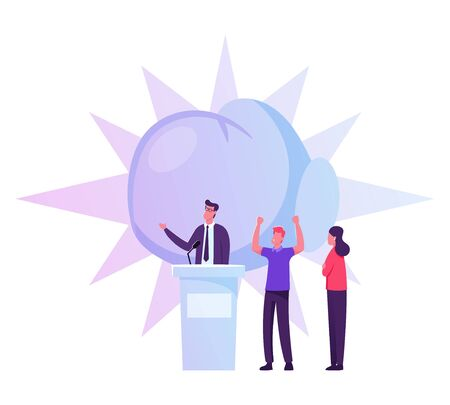 People Support Speaker Candidate Standing on Tribune Giving Speech. Characters Law-abiding Citizen City Dwellers Execute Rights and Duties in Political Life of Country Cartoon Flat Vector Illustration