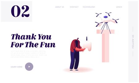 Alphabet Element, Futuristic Technologies Website Landing Page. Happy Man Control Quadcopter which Carry Huge Letter T as Part of Thank You Typography Web Page Banner. Cartoon Flat Vector Illustration Illusztráció