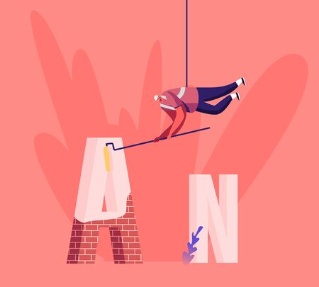 Thank You Typography Spelling. Worker in Hard Hat Hanging on Rope with Roller in Hands Painting Huge Letter A made of Red Bricks with White Paint. Architecture, Design Cartoon Flat Vector Illustration