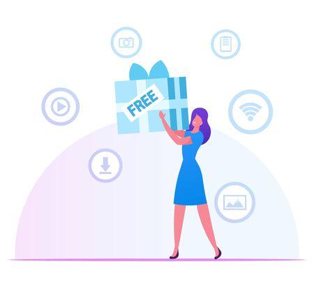 Frau, die riesige verpackte Geschenkbox in den Händen mit Medienikonen für App herum hält. Mädchen mit kostenlosen Download-Internet- und Torrent-Netzwerkdiensten. Drahtlose Wifi-Verbindungs-Karikatur-flache Vektor-Illustration Vektorgrafik