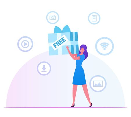 Woman Holding Huge Wrapped Gift Box in Hands with Media Icons for App around. Girl Using Free Download Internet and Torrent Network Services. Wireless Wifi Connection Cartoon Flat Vector Illustration