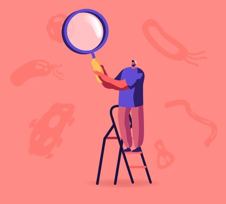 Male Character Stand on Ladder Looking on Tiny Bacteria through Huge Magnifying Glass with Microorganisms Floating around. Pandemic Outbreak Laboratory Research. Cartoon Flat Vector Illustration