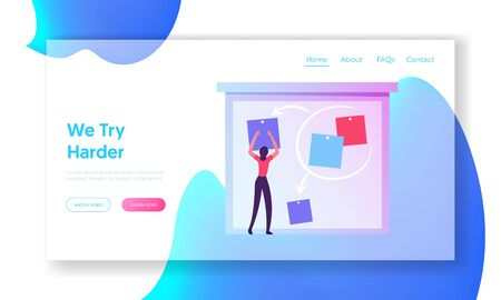 Agile Software Development Website Landing Page. Business Woman Put Stick Notes on Board Create Strategy of Project Management. Kanban Technology Web Page Banner. Cartoon Flat Vector Illustration