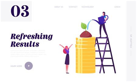 Corporate Social Responsibility Website Landing Page. Business Woman Watering Green Plant Growing on Pile of Gold Coins. Eco Ethic Strategy Model Web Page Banner. Cartoon Flat Vector Illustration
