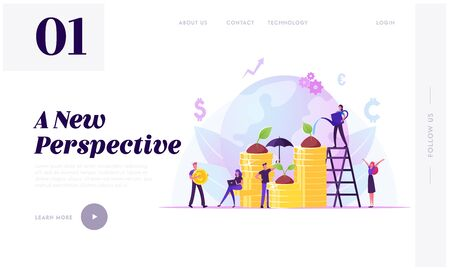 Corporate Social Responsibility Website Landing Page. Tiny People Growing Plants on Coins. Fair Rights Organization Management or Csr Teamwork Strategy Web Page Banner Cartoon Flat Vector Illustration