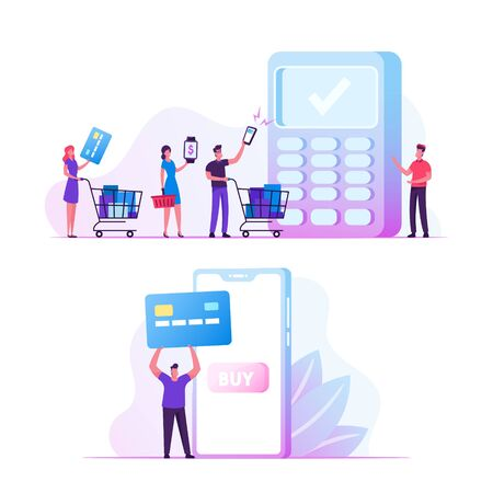 Online Payment Concept. Man Buyer Hold Credit Card for Paying in Smartphone. People with Purchases at Cashier Desk, Salesman Prepare Pos Terminal for Cashless Paying Cartoon Flat Vector Illustration Illustration
