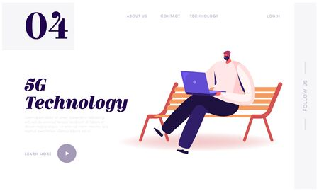 High-speed 5G Internet Technology Website Landing Page. Young Man Sitting on Bench with Laptop in Hands