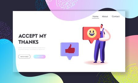 Male Character Giving Thanks in Internet Networks Website Landing Page. Cheerful Thankful Man Wearing Working Robe Holding Huge Smile Sign in Hands Web Page Banner. Cartoon Flat Vector Illustration Ilustrace