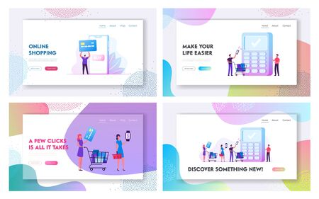 Payment with Mobile Phone and Card Website Landing Page Set. Customers Use Smart Devices for Paying. Cashless Payment Transaction, Shopping Technology Web Page Banner. Cartoon Flat Vector Illustration