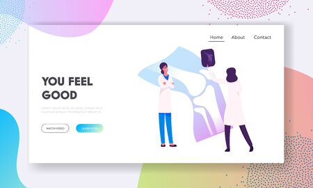 Medical Concilium, Healthcare Website Landing Page. Doctor Traumatologist Look at X-ray Picture with Limb Fracture Discuss Treatment with Colleague Web Page Banner. Cartoon Flat Vector Illustration