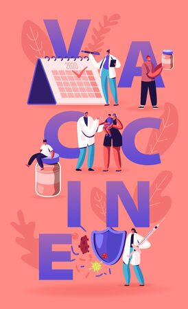 Planning Vaccine Applying Concept. Doctor Put Injection to Kids and Adults for Protection from Disease, Vaccination and Immunization Poster Banner Flyer Brochure. Cartoon Flat Vector Illustration