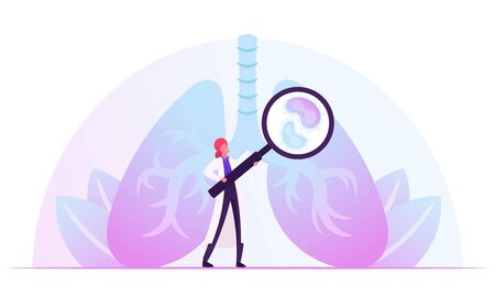 Respiratory Medicine, Healthcare and Pulmonology Concept. Doctor Checking Human Lungs with Magnifying Glass Search Pathology. Medical Pulmonological Care, Anatomy Cartoon Flat Vector Illustration Illustration