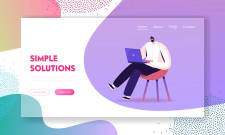 Young Business Man Sitting on Chair Working on Laptop Website Landing Page. Freelancer Work Remotely at Home or Coworking Place Using Smart Device. Web Page Banner. Cartoon Flat Vector Illustration