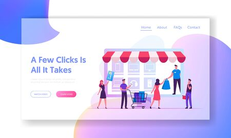 Online Shopping Website Landing Page. Customers with Credit Card and Trolley Buying Goods at Huge Gadget Screen Illustration