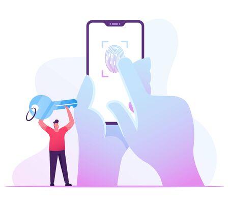 Finger Print Scan, Authorization in Security System. Human Hand Scanning Finger at Smartphone Screen Ilustração