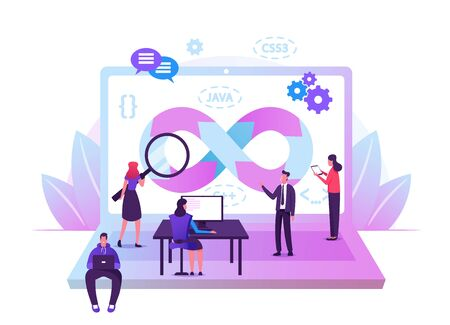 Devops Specialists Work Collaboration. Programmers and Businesspeople at Huge Laptop. Development Automation, Monitoring Cycles at All Steps of Software Construction. Cartoon Flat Vector Illustration 向量圖像