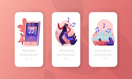 Young Women Dancing on Disco Party and Listen Music Mobile App Page Onboard Screen Set. Girl Spend Time Moving to Rhythm. Happy Leisure Concept for Website or Web Page Cartoon Flat Vector Illustration Иллюстрация