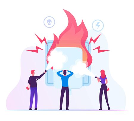 Electrical Safety Concept. People with Extinguishers Put Out Electric Wiring of Socket on Fire. Plug Outlet Shock Power. Short Circuit Overload Electrical Connection. Cartoon Flat Vector Illustration