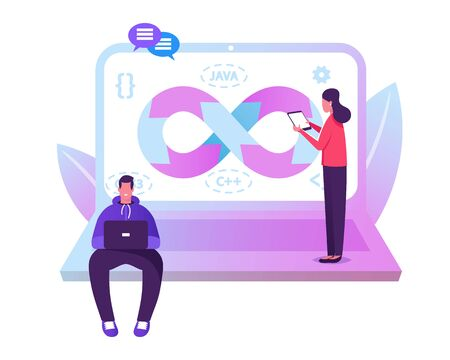 Devops Specialists Work Collaboration. Programmer and Businesswoman at Huge Laptop. Development Automation and Monitoring Cycles at All Steps of Software Construction. Cartoon Flat Vector Illustration 일러스트
