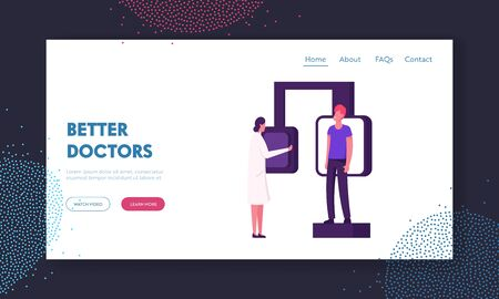 Fluorographic Examination, X-ray Medical Diagnostics Checkup Website Landing Page. Doctor Prepare Radiology Equipment for Patient Pulmonology Scan Web Page Banner. Cartoon Flat Vector Illustration
