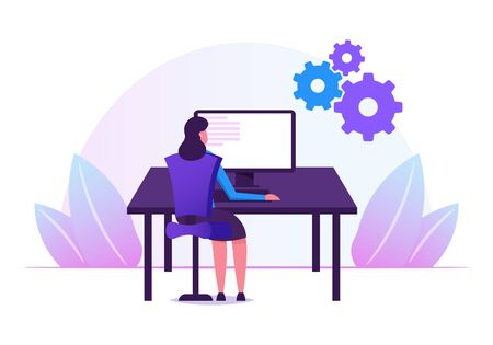 Female Programmer Working with Devops Software Development Practices Methodology. Young Woman Developer Sitting at Office Desk Work on Computer Developing Software Cartoon Flat Vector Illustration