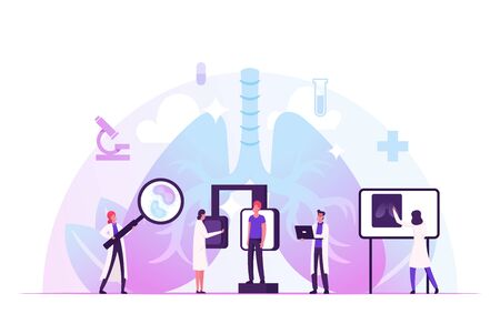 Fluorographic Examination in Pulmonology Department in Clinic. Lungs X-ray Medical Diagnostics Checkup. Doctor Research Pathology on Scan Image for Patient Diagnosis Cartoon Flat Vector Illustration