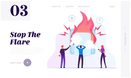 Electrical Safety Website Landing Page. People with Extinguishers Put Out Fire Electric Wiring Socket. Short Circuit Overload Electrical Connection Web Page Banner. Cartoon Flat Vector Illustration 向量圖像