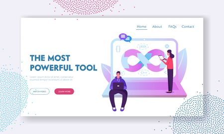 Devops Specialists Work Collaboration Website Landing Page. Programmer and Businesswoman at Huge Laptop. Development Automation and Monitoring Cycles Web Page Banner. Cartoon Flat Vector Illustration 向量圖像