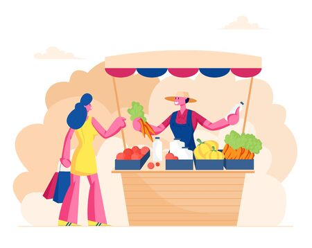 Farmer Sell Fresh Vegetables and Dairy Products to Woman Customer at Counter Desk. Outdoors Farm Market