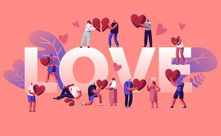 Love and Heartbreak Concept. Happy Couples Sparetime, Holding Heart. Unhappy Heartbroken People Parting, Divorce Illustration