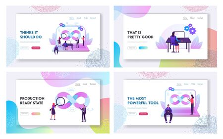 Devops Teamwork Website Landing Page Set. Programmer, User and Administrator Professional Software Support, Software Development and Administration Web Page Banner. Cartoon Flat Vector Illustration 일러스트