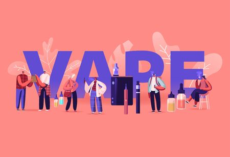 Vape Shop Business and Smoking Addiction Concept. Urban Hipster People Enjoying Vaping, Nicotine and Tobacco E-Cigarette Production Poster Banner Flyer Brochure. Cartoon Flat Vector Illustration Ilustracja