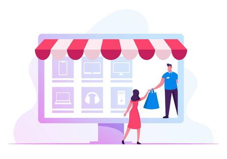 Salesman or Delivery Courier Giving Bag to Recipient Woman Standing at Huge Laptop Screen with Goods Icons