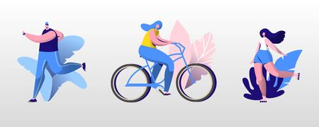 People Outdoor Sport Set. Men and Women Running, Riding Bike and Roller Skates at Summertime. Outdoor Sports Activity, Healthy Lifestyle Jogging and Cycling Exercising Cartoon Flat Vector Illustration