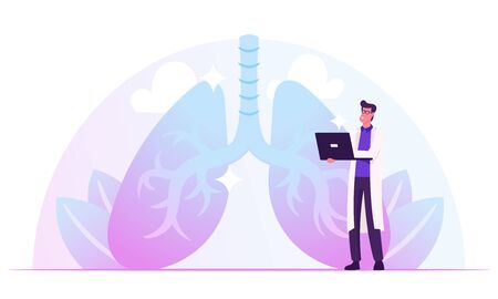 Pulmonology Doctor Working on Laptop Watching Lungs X-rays Image on Computer Screen Checking Analysis Results. Fibrosis Tuberculosis Pneumonia Cancer, Lung Diagnosis Cartoon Flat Vector Illustration