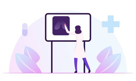 Pulmonology Specialist, Professional Doctor Stand at Laboratory Equipment Board with Image of Lungs Xray Learning Patient Fluorography. Medical Staff Work in Hospital. Cartoon Flat Vector Illustration