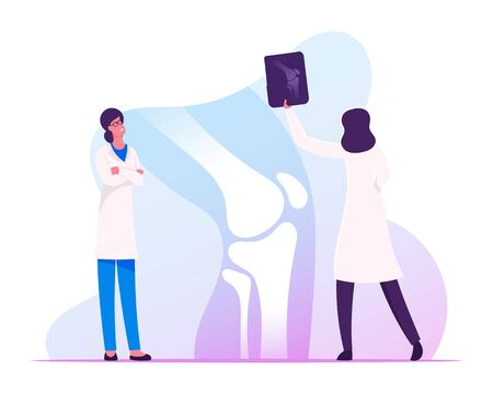 Medical Concilium, Healthcare Concept. Doctor Traumatologist Look at X-ray Picture with Limb Fracture Discuss Patient Treatment with Colleague Specialist in Hospital Cartoon Flat Vector Illustration Illusztráció