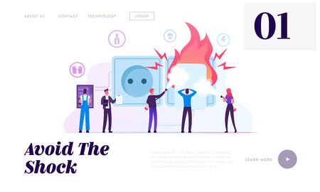 Electrical Safety Website Landing Page. Electrician Worker Wearing Robe and Protective Gloves Checking Plug Outlet Shock Power, People Put Out Fire Web Page Banner. Cartoon Flat Vector Illustration