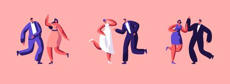 Love Wedding Day and Marriage Event Set. Groom in Suit Dancing with Bride in White Dress. Young Happy Couple Getting Married. Friends and Girlfriends Dancing nearby. Cartoon Flat Vector Illustration