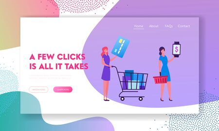Online Payment, Shopping Website Landing Page. Female Customers Stand in Queue in Supermarket Prepare Credit Card and Smart Watch for Cashless Paying Web Page Banner. Cartoon Flat Vector Illustration